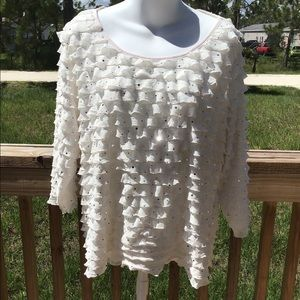 KIM ROGERS White & Mirror Sequins Ruffled Blouse